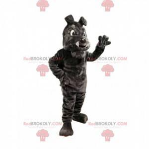 Dunkelgraues Bulldog-Maskottchen mit großen Zähnen -