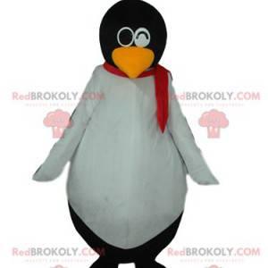 Mascotte del pinguino in bianco e nero molto divertente -