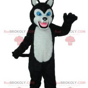 Schwarzweiss-Wolfsmaskottchen mit blauen Augen - Redbrokoly.com