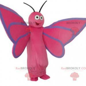 Meget glad lyserød sommerfuglemaskot - Redbrokoly.com