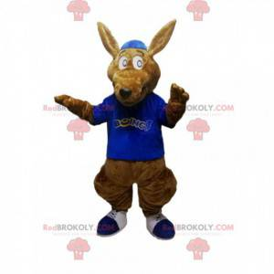 Brązowy kangur maskotka z niebieską koszulką - Redbrokoly.com