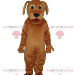 Frozen brown dog mascot with a pretty black muzzle -