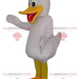 Weißes Entenmaskottchen mit einem großen gelben Schnabel -