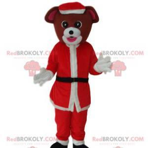 Braunes Hundemaskottchen mit einem Weihnachtsmann-Outfit -