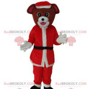 Hnědý pes maskot s Santa Claus oblečení - Redbrokoly.com