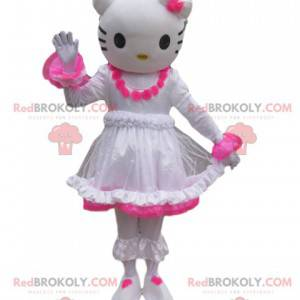 Mascotte Hello Kitty con una rosa bianca e fucsia -