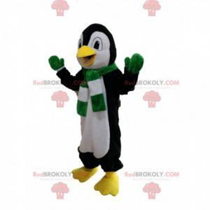 Maskot černobílý tučňák se zeleným a bílým šátkem -
