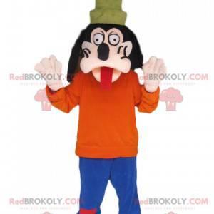 Goofy Maskottchen ragt die Zunge heraus. Goofy Kostüm -