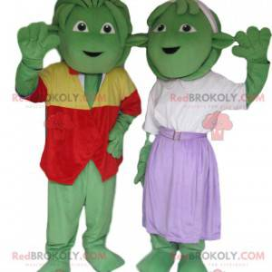 Very cheerful and well dressed green creatures mascot duo -