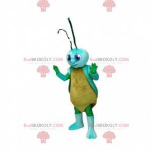 Mascote da cigarra amarela e azul. Traje de cigarra -