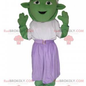 Green creature mascot with a purple skirt - Redbrokoly.com