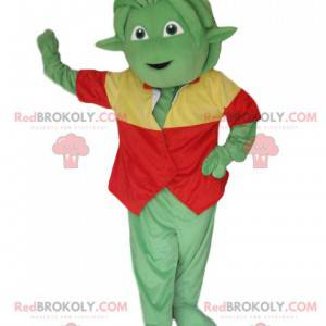 Green creature mascot with a red and yellow vest -