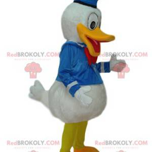 Mascote Donald com fantasia de marinheiro de cetim -