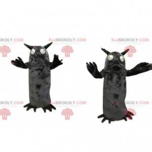 Maskottchen kleines graues Monster mit Hörnern - Redbrokoly.com