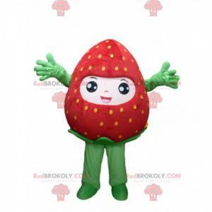 Sehr fröhliches Erdbeermaskottchen. Erdbeerkostüm -