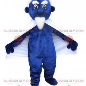 Maskottchen blauer Kobold mit einem weißen Spitzbart -