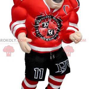 Mascote homem jogador de hóquei muito musculoso - Redbrokoly.com
