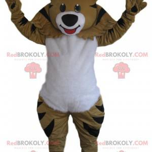 Béžový tygr maskot s krásným úsměvem - Redbrokoly.com