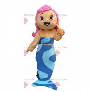 Maskot mořská panna s modrým ocasem a růžovými vlasy -