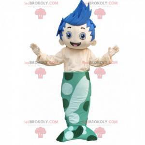 Havfrue mann maskot med en blå hale og grønt hår -