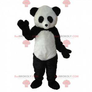 Mascote do panda preto e branco. Fantasia de panda -