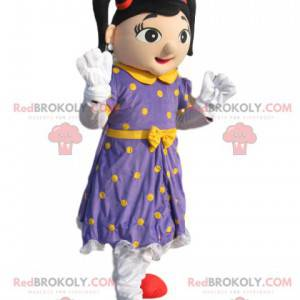 Fairy mascot with a purple dress with yellow polka dots -