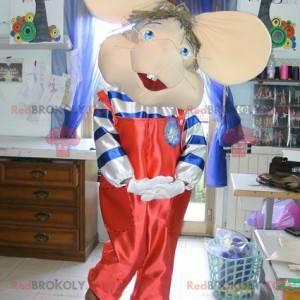 Mysz maskotka w czerwonym kombinezonie z dużymi uszami -