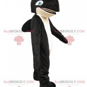 Czarno-biała maskotka orka z niebieskimi oczami - Redbrokoly.com