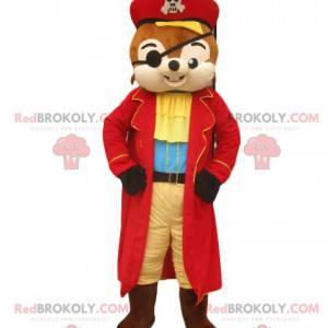 Egern maskot med en fremragende pirat outfit - Redbrokoly.com