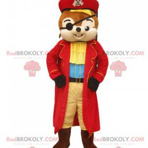 Squirrel mascot with a superb pirate outfit - Redbrokoly.com