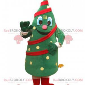 Mascote alegre da árvore de Natal com uma estrela dourada -