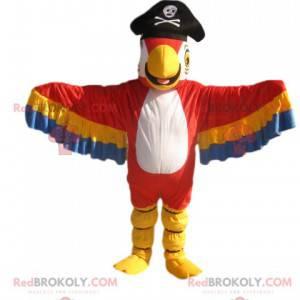Mascota de loro multicolor con sombrero de pirata -