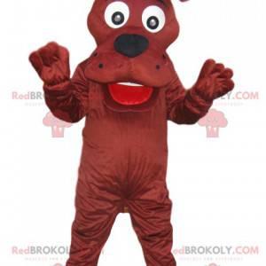Hnědý pes maskot s obrovským úsměvem - Redbrokoly.com