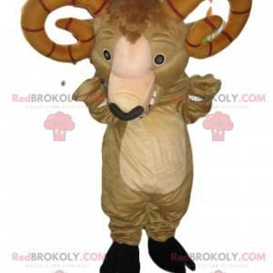 Mascot carnero beige con imponentes cuernos marrones -