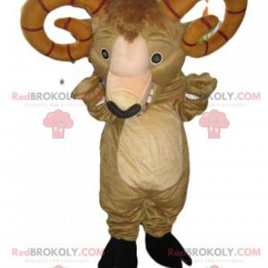 Mascote de carneiro bege com imponentes chifres marrons -