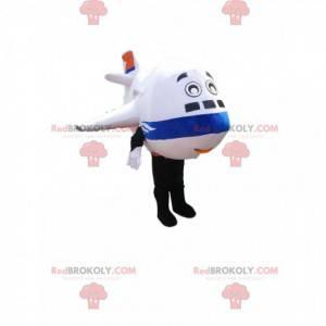 Maskotka samolotu biały i niebieski. Kostium samolotu -