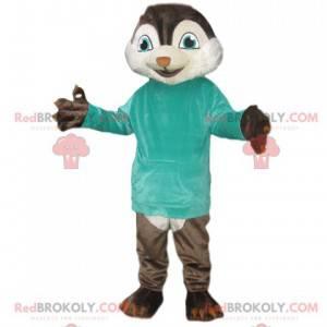Eichhörnchen-Maskottchen mit einem blauen T-Shirt -