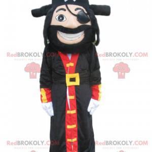 Mascotte pirata con un grande cappotto e un bellissimo cappello