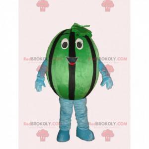 Gigantisk og smilende grønn og svart vannmelon maskot -