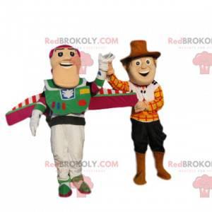 Dupla de mascotes Buzz Lightyear e Woodie, de Toy Story -