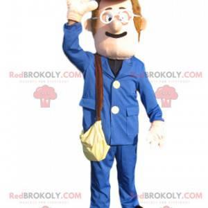 Schneemann-Maskottchen mit blauem Anzug und Mütze -