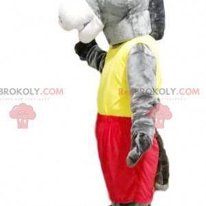 Graues Esel-Maskottchen mit gelber und roter Sportbekleidung -