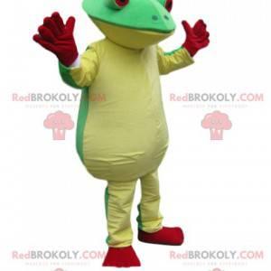zelený a žlutý žabí maskot s velkýma červenýma očima! -