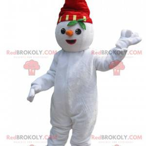 Schneemann Maskottchen mit einem roten Hut und einer Karotte -
