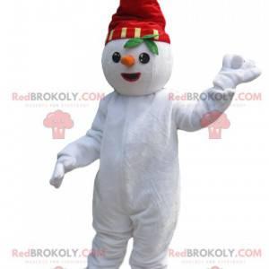 Sneeuwpopmascotte met een rode hoed en een wortel -