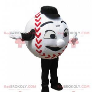 Weißes Baseballmaskottchen mit einem großen Lächeln -