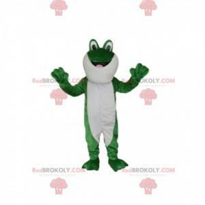Grünes und weißes Froschmaskottchen mit großen Augen! -
