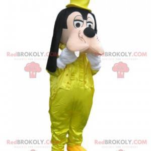 Mascote pateta com fantasia de cetim amarelo - Redbrokoly.com