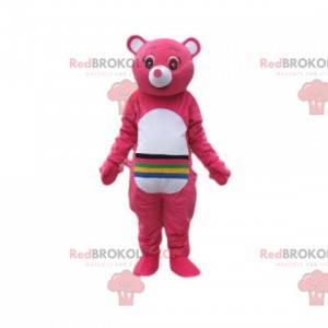 Mascot cuidado osos fucsia con líneas en el estómago. -