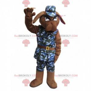 Sint brun hundemaskot med militært antrekk - Redbrokoly.com